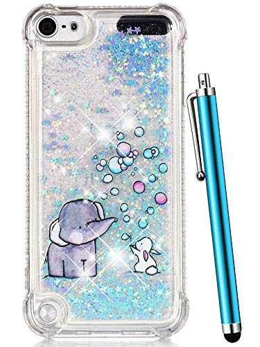iPod Touch 6 Case,iPod Touch 5 Case Glitter,CAIYUNL Liquid Bling Sparkle Clear Cute TPU Kids Girls Protective Cover Shockproof for Apple iPod Touch 6th Generation/iPod Touch 5th (Blue Elephant) (5 Ipod Apple Cases For Girls)