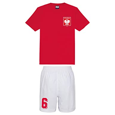 0faa3fb23f7 Printmeashirt Kids Customisable Poland Polska Style Football kit Shirt and  Shorts Home  Amazon.co.uk  Clothing