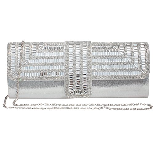 Gesu Rhinestone Evening Clutch Bag Wedding Bridal Prom Handbag Purse for Women,Silver by GESU