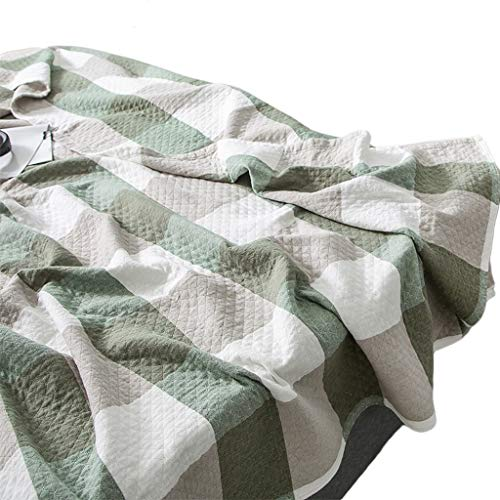 Knitted Gauze - Blankets Towel by Cotton Gauze Single Double Nap Summer Cool Summer Dormitory Children Baby Thin Sheets ZHAOSHUNLI (Color : B-Green, Size : 200cm230cm)