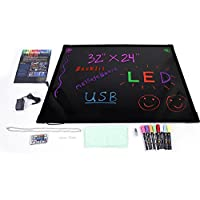 Z ZTDM 32x24 Illuminated LED Message Board for Writing Drawing,Erasable Flashing Neon Menu Sign Display for Holiday/Event/Decoration Promotion - Romote Controll,8pcs Highlighters Multiple Colors