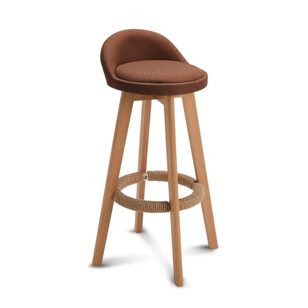 Brown QIQI-DENG Solid Wood High Stool, Back Bar Stool Multicolor redating Seat Living Room Kitchen (color   White)