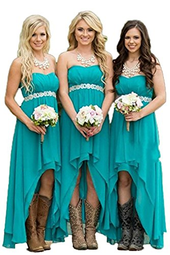 Homdor Women Strapless High Low Bridesmaid Dresses Off The Shoulder Wedding Gown -