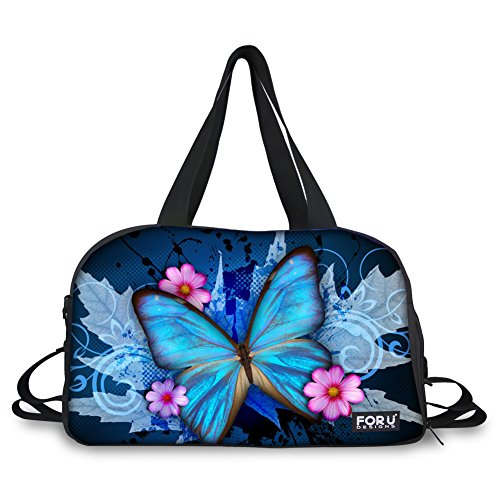 HUGSIDEA Blue Art Butterfly Print Gym Fitness Shoulder Bags Large Sports Travel Duffles by HUGS IDEA