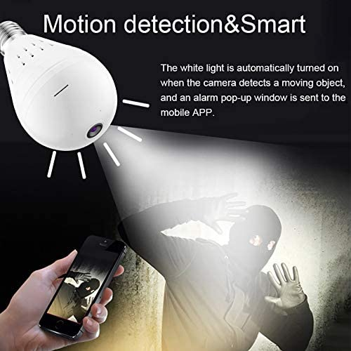 Wireless Bulb Security Camera, 360 Eye Camera Bulb, Bulb Camera WiFi Outdoor 2.4GHz WiFi Home Video Baby Monitors Cameras with Night Vision