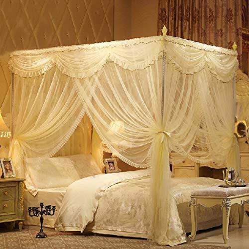 Europea Elegante Princesa Cama Mosquitera, Cama Cuadrada Canopy Niñas Cálidas Cortinas De Red para Queen Size Bed Room...