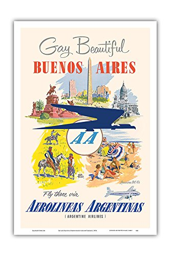 Pacifica Island Art Buenos Aires   Aerolineas Argentinas   Argentine Airlines   Vintage Airline Travel Poster By Adolph Treidler C 1950S   Master Art Print   12In X 18In