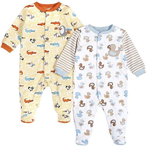 Pekkle Baby 2-Pack Footed Sleeper, Snap, Sleep & Play Onesie Unisex Pajamas, Ducks, 9 Months