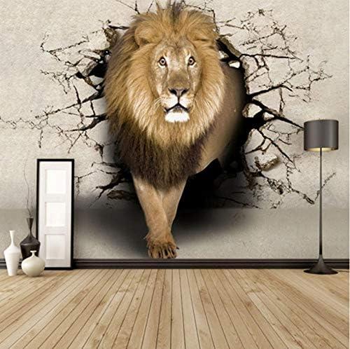 Lcymt カスタム3Dエンボス加工ライオン壁画壁紙パーソナリティKtvバーカフェ背景キッズルームホーム改善壁紙レンガ壁-400X280Cm
