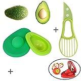 Avocado Saver and Slicer, Multi-purpose Silicone Food Savers, Avocado Fresh Keeper Storage Huggers Container, FREE GIFT Strawberry Slicer