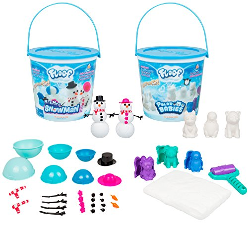 Floof Modeling Clay 2-Pack Bundle with Polar Babies and Mr & Mrs Snowman - Reusable Indoor Snow - Easy to Mold Into Different Shapes - Clean-up Quickly and Easily by Floof