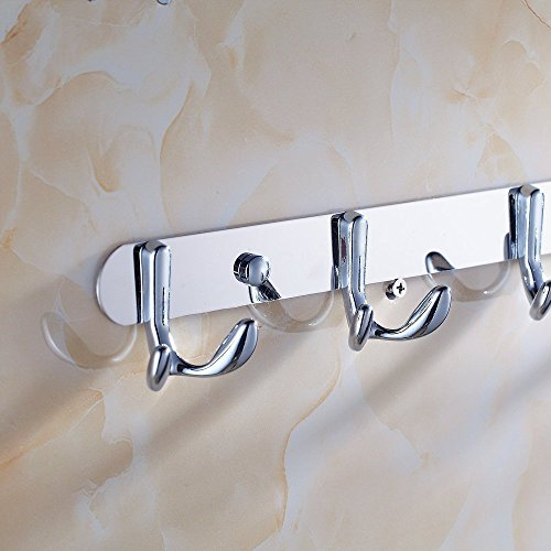 well-wreapped Hiendure Wall Mounted Stainless Steel Coat and Robe Hook Rail Bathroom Towel Rack Storage Organizer Hanger 3 Hooks, Chrome
