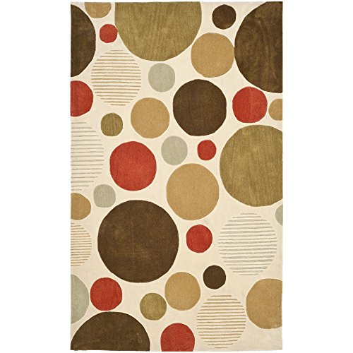 Contemporary Polyester Rug (Safavieh Modern Art Collection MDA615A Handmade Contemporary Dots Ivory and Multi Polyester Area Rug (5' x)