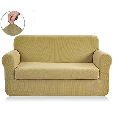 Chunyi 2-Piece Jacquard Polyester Spandex Sofa Slipcover (Sofa, Beige)