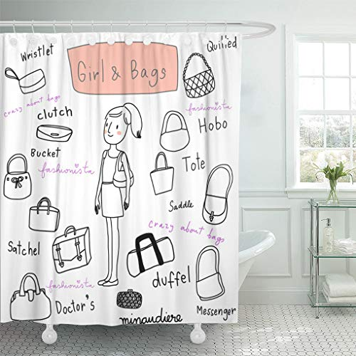 - Ashleyallen Shower Curtains Vintage Cute Girl with Various Bags of Such As Duffel Clutch Saddle Satchel Tote Hobo Messenger Handbag Shower Curtain 72 x 78 Inches Shower Curtain with Plastic Hooks