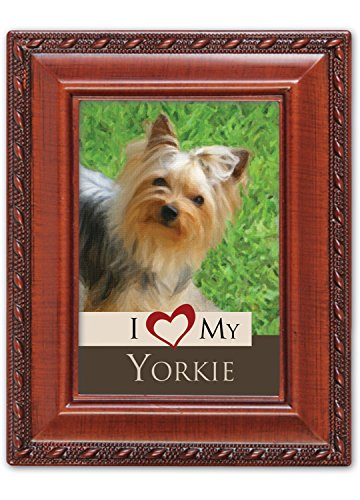 I Love My Yorkie 2x3 Photo Woodgrain Finish Frame with Easel, Ribbon Hanger and Magnetic Back