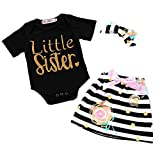"""2 Styles of Baby Girls Letters""""Little Sister""""Printed Tops+Floral Striped Pants+Hat+Headband Outfits Set (Black, 6-12 Months)"""