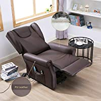 Amazon.com: Trustiwood Electric Brown PU Lift Chair Living ...