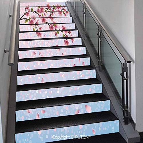 - PUTIEN Popular Stair Stickers Wall Stickers,13 PCS Self-Adhesive [ House Decor,Sakura Twig Blossom Leaves o