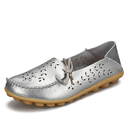 YIRUIYA Flats Loafers silver Leather Casual On Women H Shoes Slip rfwRnZrTx