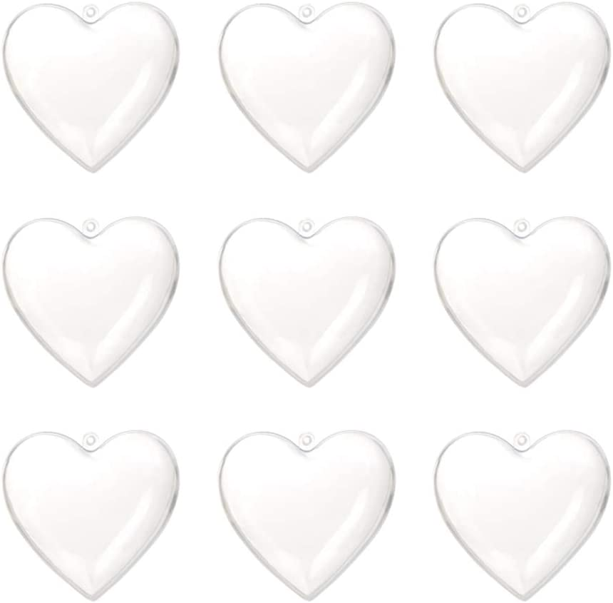Clear Fillable Heart Baubles Plastic Wedding Favours Christmas Decoration Love
