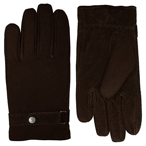Grandoe Men's Wool Mixed Media Glove with Belt and Suede Palm, Brown, Large ()