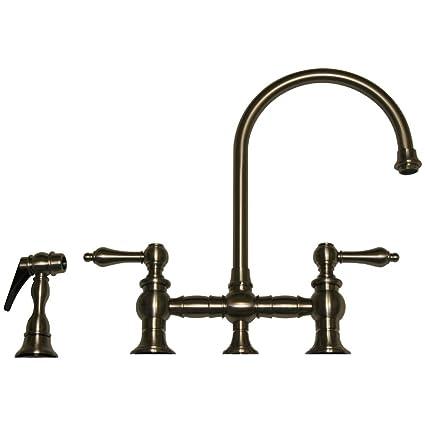 Whitehaus WHKBLV3 9101 BN Vintage III Kitchen Bridge Faucet With Long  Gooseneck Swivel Spout