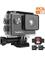ThiEYE 4K 20MP WiFi Action Camera Full HD Waterproof Cam 197ft Underwater Camcorder 170° Wide-angle Sports Camera with Remote Control, 2 Rechargeable 1050mAh Batteries and Mounting Accessory Kits