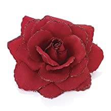 Large Glitter Edge Red Rose Flower Fascinator Clip Hair Elastic Band Bobble Corsage