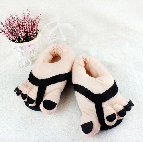Pantofole Piedi Grandi Piedi Divertente Inverno Morbido Peluche Casa Pantofole Novità Scarpe Per Adulti Nero