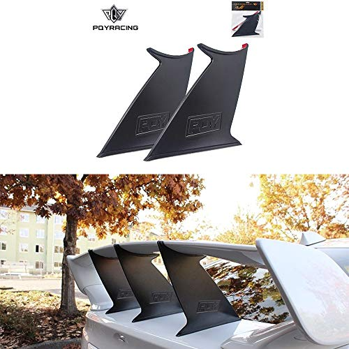 PQYRACING 2PCS Spoiler Wing Stabilizer for 2015-2019 Subaru WRX STi Sedan Spoiler Wing Stiffi Support Rally with PQY Logo