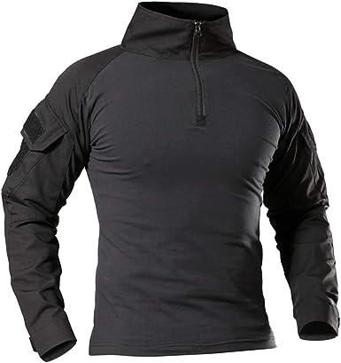 QingCheng Camisa táctica de Combate Militar de algodón para Hombre, diseño de Camuflaje con Cremallera
