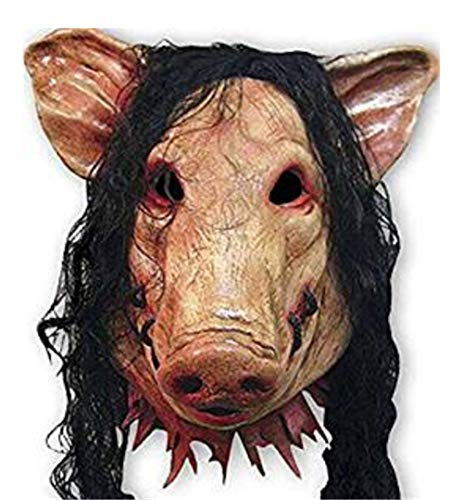 Halloween Saw Mask Horrible Mask Animal Pig Face Mask Party Masquerade Costume Latex Chainsaw Maniac Ghost Horror Head -