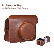 Andoer Vintage PU Protective Camera Case Bag Pouch Cover Protector w/ Camera Strap For Fujifilm Instax Wide W300 Instant Film Cam