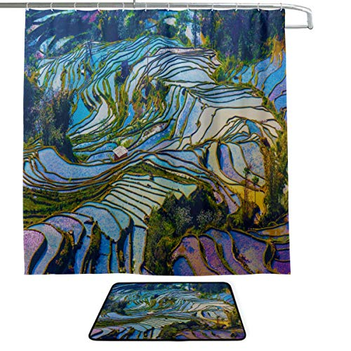 DKGFNK Yunnan City Free Travel Romantic Color Single-Sided Printing Shower Curtain and Non-Slip Bath Mat Rug Floor Mat Combination Set with 12 Hooks for Bathroom Decor and Daily Use ()