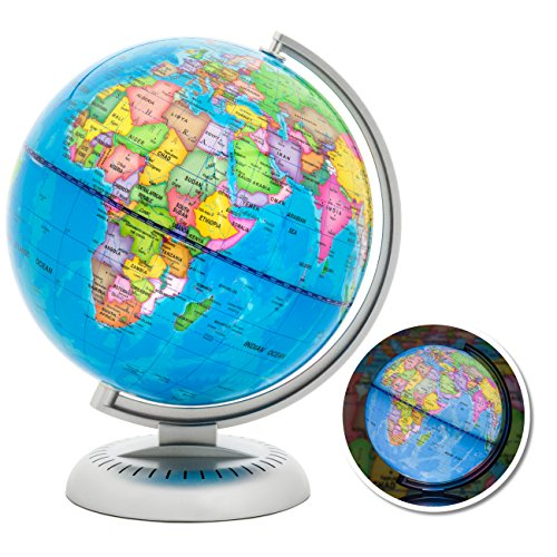 Best Choice Products 8in LED Light Illuminated World Globe w/ Day & Night View – Multicolor