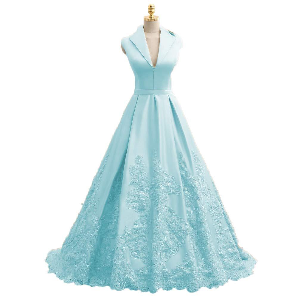 Light bluee MariRobe Women's Lace Applique Quinceanera Dress V Neck Prom Dresses A line Satin Evening Dress Sweet 16 Dress Prom Gown