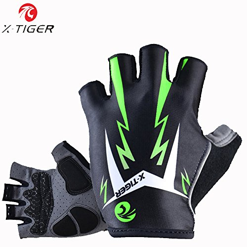 X-TIGER Cycling Gloves Mountain Bike Gloves Road Racing Bicycle Gloves Light 3D GEL Pad Riding Gloves Half Finger Biking Gloves Men/Women Work Gloves (Green, M)