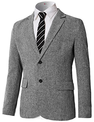 H2H Men Blazer Lightweight Solid Patterned Jackets Suits Gray US L/Asia 2XL (KMOJA0392)