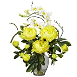 Nearly Natural 1175-YL Peony and Orchid Silk Flower Arrangement, Yellow
