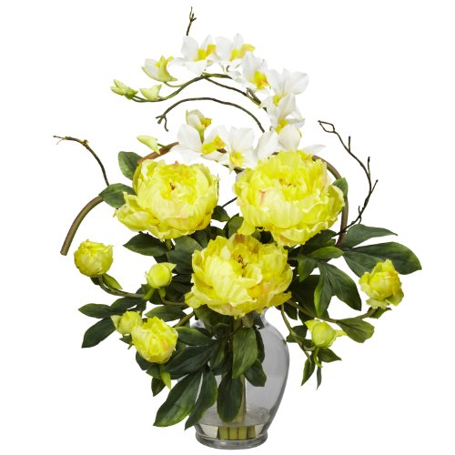 Dendrobium Silk Orchid Arrangement - Nearly Natural 1175-YL Peony and Orchid Silk Flower Arrangement, Yellow