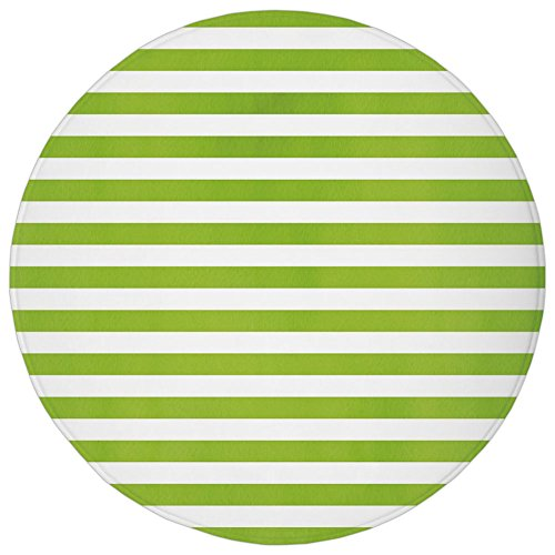 (Round Rug Mat Carpet,Lime Green,Horizontal Stripes Simplistic Watercolor Paintbrush Large Lines Image,White Lime Green,Flannel Microfiber Non-slip Soft Absorbent,for Kitchen Floor Bathroom)