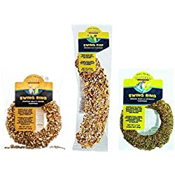 Sunseed Cockatiel, Lovebird, Parakeet and Conure Treats 3 Flavor Variety Bundle (1) Each: Swing Ring Grass Seed Spinach, Swing Pop Banana Nut, Swing Ring Popped Multi-Grain, 2.11-4.4 Ounces