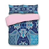 Cal King Vs Eastern King Pink Duvet Cover Set,King Size,Middle Eastern Oriental Persian Pattern with Arabesque Moroccan Effects Design,Decorative 3 Piece Bedding Set with 2 Pillow Sham,Best Gift For Girls Women,Indigo Sky Blu