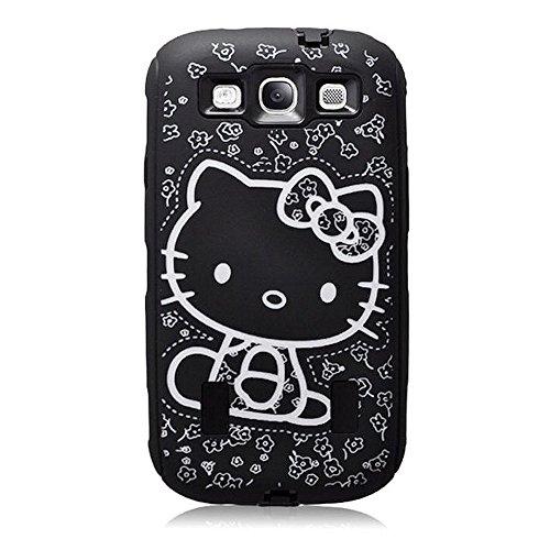 EEA 3 Piece Hello Kitty Hybrid High Impact Case For Galaxy S3 III i9300 (Black) (Hello Kitty Phone Case For Galaxy S3)