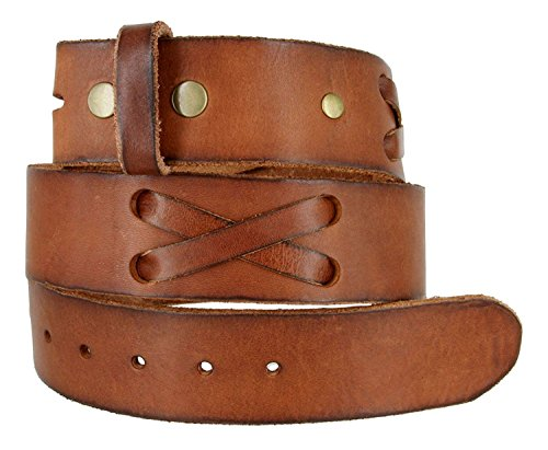 1.75 Inch Leather Casual Belt - TB105 Mens 100% Full Grain Genuine Leather Western X-Laced Casual Jean Belt Strap 1.75