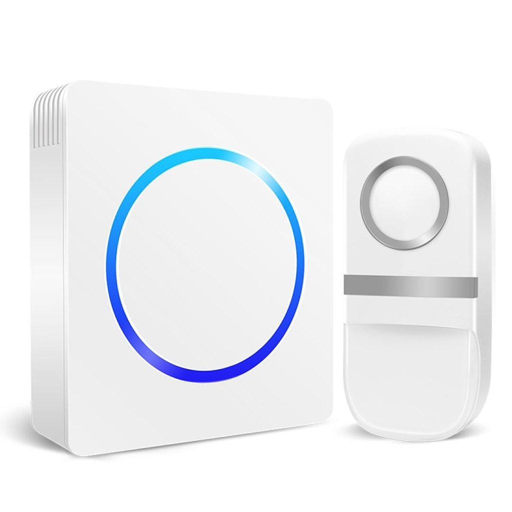 MUTANG Self-Generating Wireless Doorbell Kit No Battery Required Weatherproof Electric Door Chime 1 Push Button And 1 Receivers