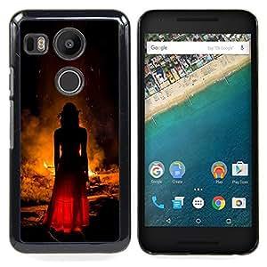 /Skull Market/ - Witch Woman Fire Red Dress Fashion For LG Google Nexus 5X - Mano cubierta de la caja pintada de encargo de lujo -
