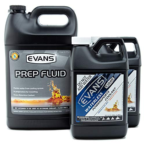 Evans Coolant EC72064-2 EC41001 Powersports Waterless Coolant and Prep Fluid Combo Pack, 2 Gallon with Funnel