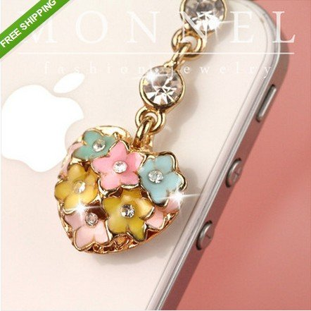 IP399-B Adorable Crystal Cute Flower Heart LOVE Cell Phone Anti Dust Plug Charm for Iphone Android 3.5mm